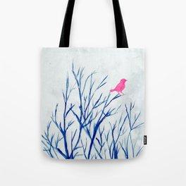 Perching bird on winter tree Tote Bag