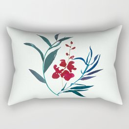 Red burgundy orchid and ocean navy blue foliage Rectangular Pillow