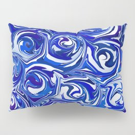 China Blue Paint Swirls Pillow Sham