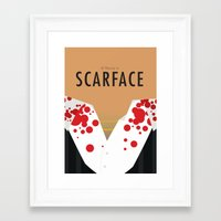 scarface Framed Art Prints featuring Scarface - Minimalist Poster by Infrequent Design