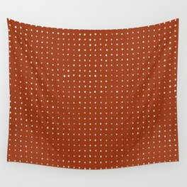 Light grey dots on rust Wall Tapestry