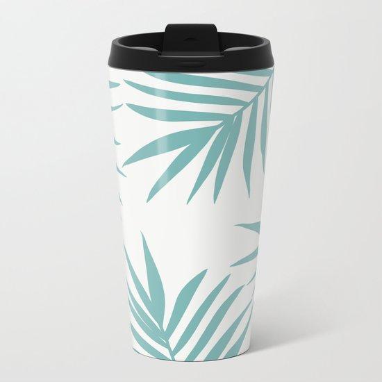 Delicate Green Tropical Leaves Pattern Metal Travel Mug