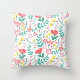 Flower Lovers - White Throw Pillow