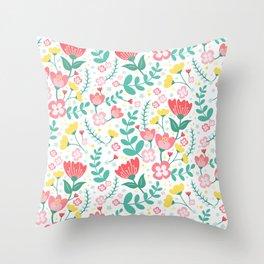 Flower Lovers - White Throw Pillow