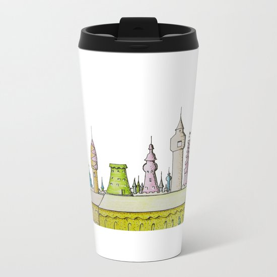 тhe city's rooftops painted with delicate flowers Metal Travel Mug
