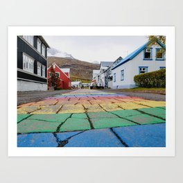 Rainbows in Seydisfjordur Art Print