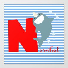 n for narwhal Canvas Print