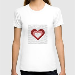 Quilted Red White Pink Simple Heart Design T-shirt