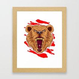 Angry Roaring Bear Design for Wild Animal and Bear Lover Framed Art Print