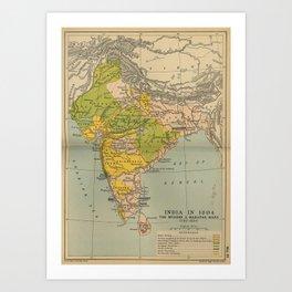 Vintage India Maratha and Mysore War Map (1804) Art Print