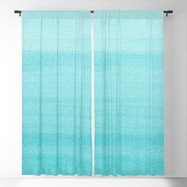 Aqua Blue Watercolor Ombre Pattern Blackout Curtain