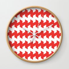 jaggered and staggered in poppy red Wall Clock