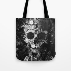 Garden Skull Dark B&W Tote Bag