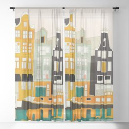 Amsterdam travel city shapes abstract Sheer Curtain