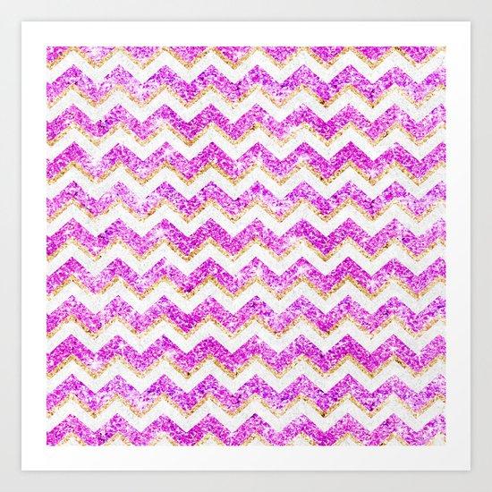 Chevron Pattern Girly Gold Purple Pink Glitter photo Art Print