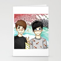 danisnotonfire Stationery Cards featuring Dan and Phil Japan by LonkFromPenn