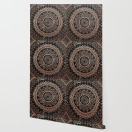 Mandala - rose gold and black marble Wallpaper