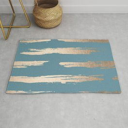 Abstract Painted Stripes Gold Tropical Ocean Blue Rug