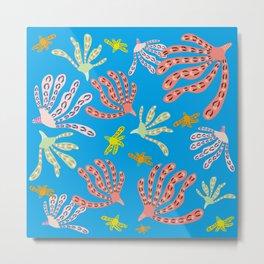 Coral Life - Ocean Blue Metal Print