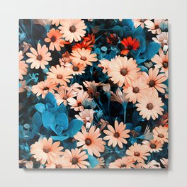 Colourful Daisies Pattern Metal Print