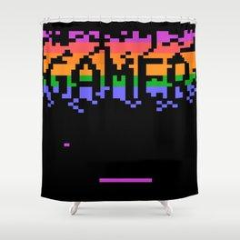 Retro Pixelated Gamer Shower Curtain