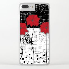 Applique Poppies on black and white background . Clear iPhone Case