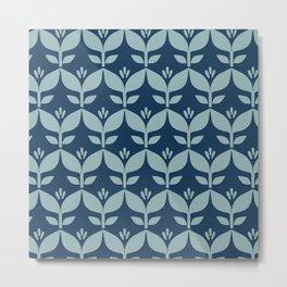 Navy blue retro tulip floral Metal Print