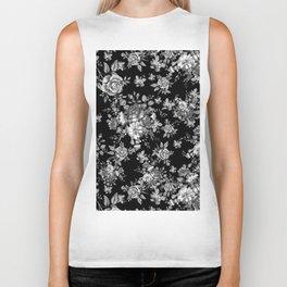 Black And White Floral Pattern Biker Tank