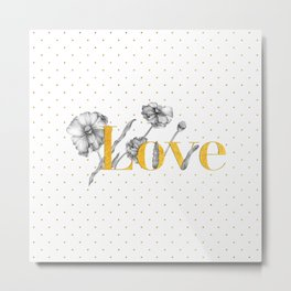 Love - Gold flowers and polka dots on white Metal Print
