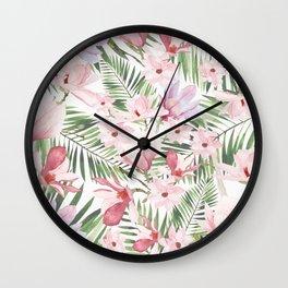 Blush pink lavender green watercolor tropical floral Wall Clock