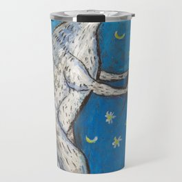 Meme Cat and Mouse on Navy Background Oil Pastel Art Travel Mug