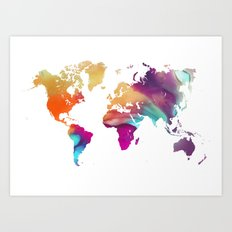 World map colored Art Print