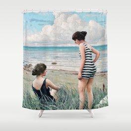 12,000pixel-500dpi - Paul Gustav Fischer - Two Friends. Beach Scene - Digital Remastered Edition Shower Curtain