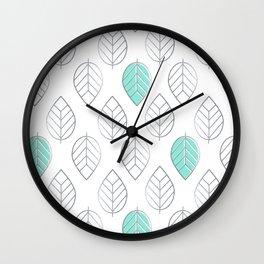Silver Foil & Mint Leaves Pattern Wall Clock