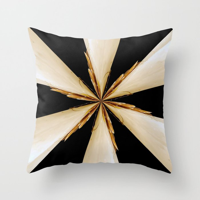 Black White And Gold Star Throw Pillow By Bellamahri