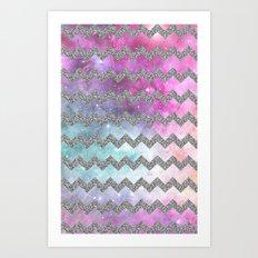 silver glitter galaxy chevron Art Print