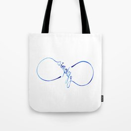 Simplify to Infinity Typography in Blue Tote Bag