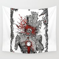 gore Wall Tapestries featuring Mad Hatter by Mongolizer