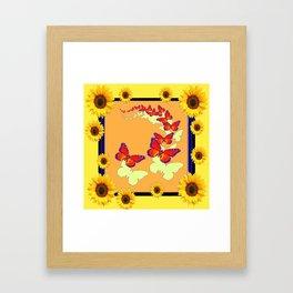 Monarch Butterflies Sunflowers Cumin Color & Yellow Art Framed Art Print