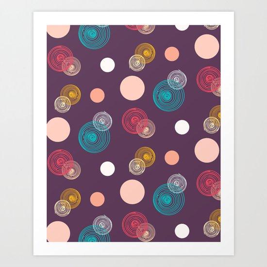 Colorful Scrawled Polka Dots Art Print
