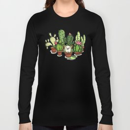 Green - Cactus and Hedgehog Long Sleeve T-shirt