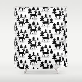 Deer In The Forest Pattern Shower Curtain
