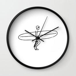 Long Board Surfer Sketch Wall Clock