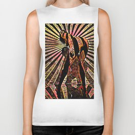 6058-KMA Abstract Nude Woman Bending Over in Red Black Biker Tank