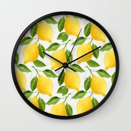 Watercolor Lemons Wall Clock