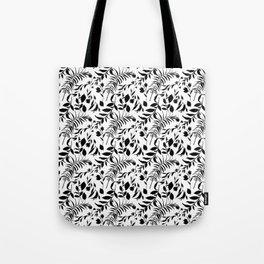Black tropical floral leaves hand painted illustration Tote Bag