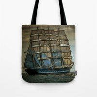 ships Tote Bags featuring Ships by InDepth Designs