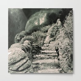 Monochrome Stone Stairs to Space   Metal Print
