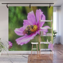 Bumble Bee on Pink Cosmos Wall Mural