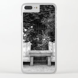 Wooden chairs and table in overgrown garden Clear iPhone Case